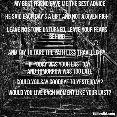 Nickelback If today was your last day Nickelback lyrics
