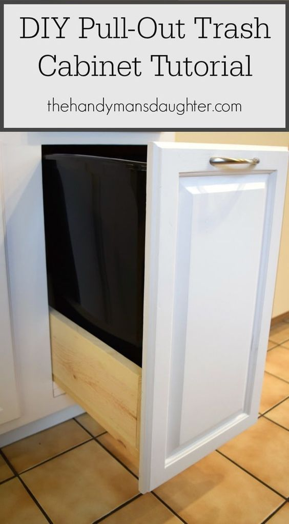 diy pull out trash can cabinet tutorial kitchen ideas diy rh pinterest com