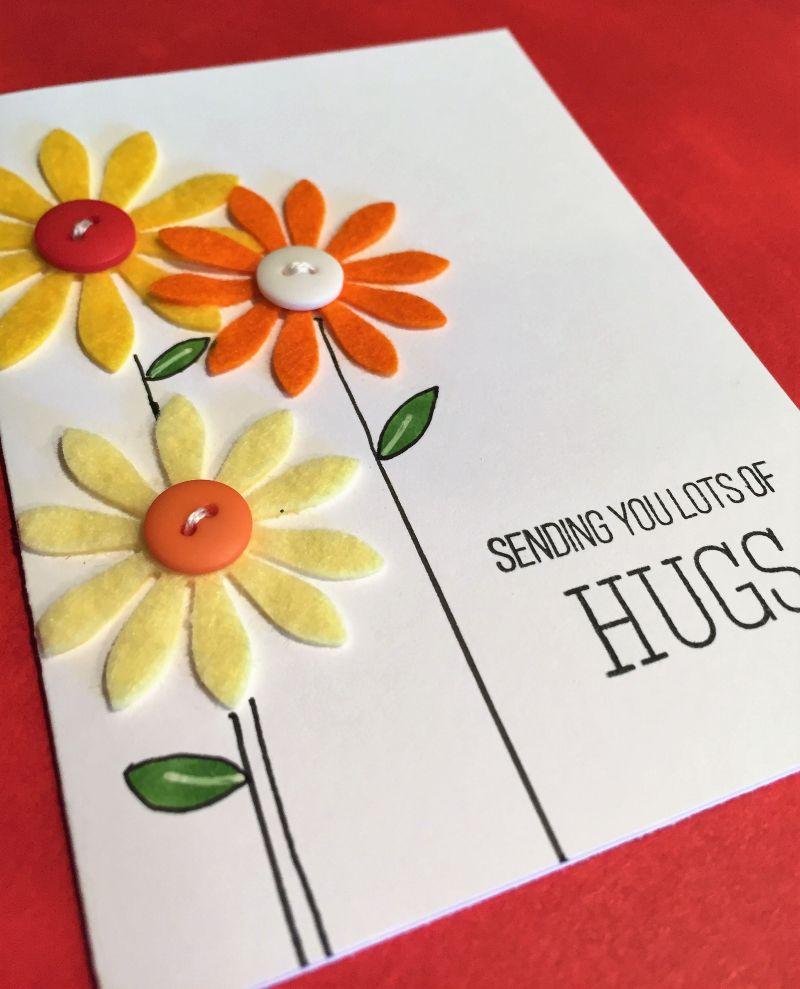 Wplus9 Felt Flowers Card Handmade Cards By Jana Pinterest