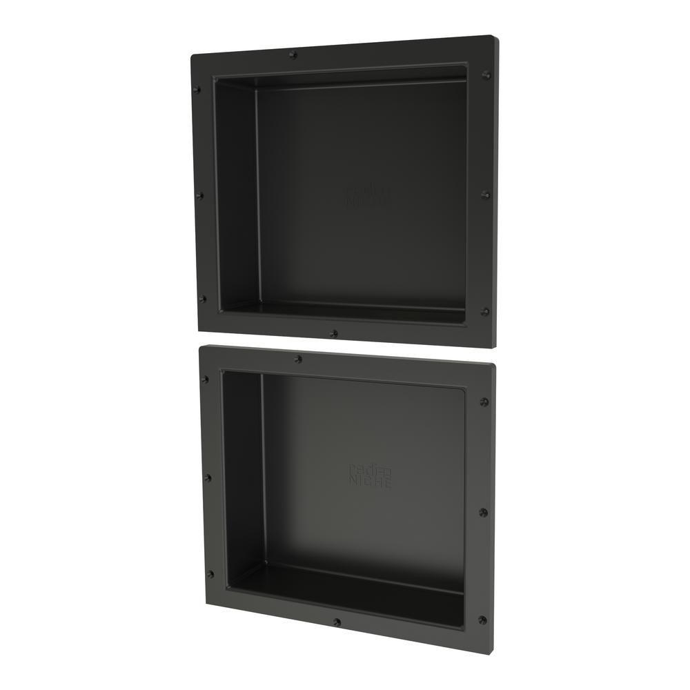 Tile Redi Redi Niche 16 In X 14 In Double Niche Set Black In 2020 Tile Redi Shower Niche Recessed Shelves
