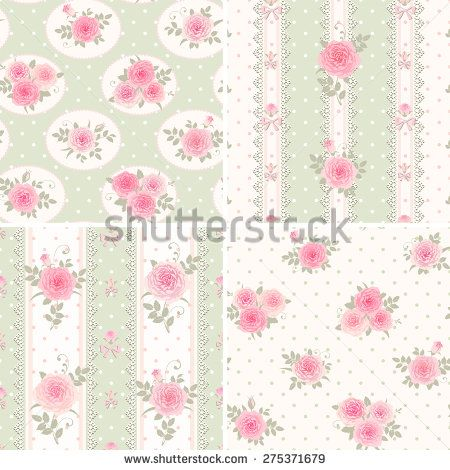Shabby Chic Wallpaper Border Borders Set Of Style Patterns With Pink Roses 275371679