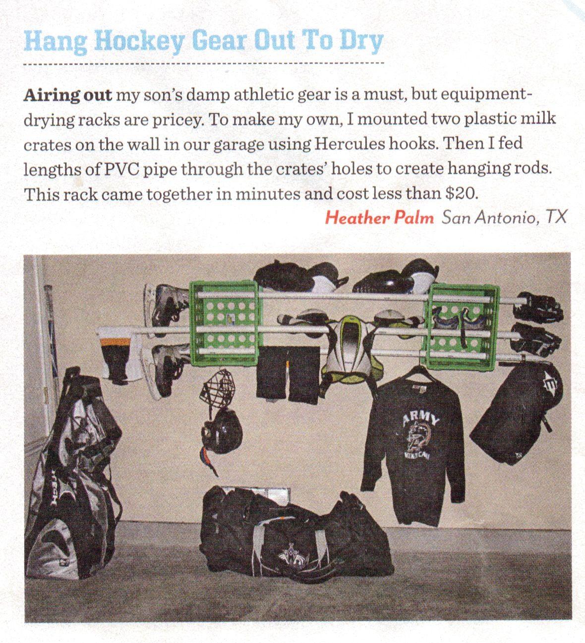 Hockey Gear Drying Rack From Family Fun Magazine Reader Hiddenstorage Sports Garage Hockey Gear Hockey Gear Drying Rack Hockey Kids