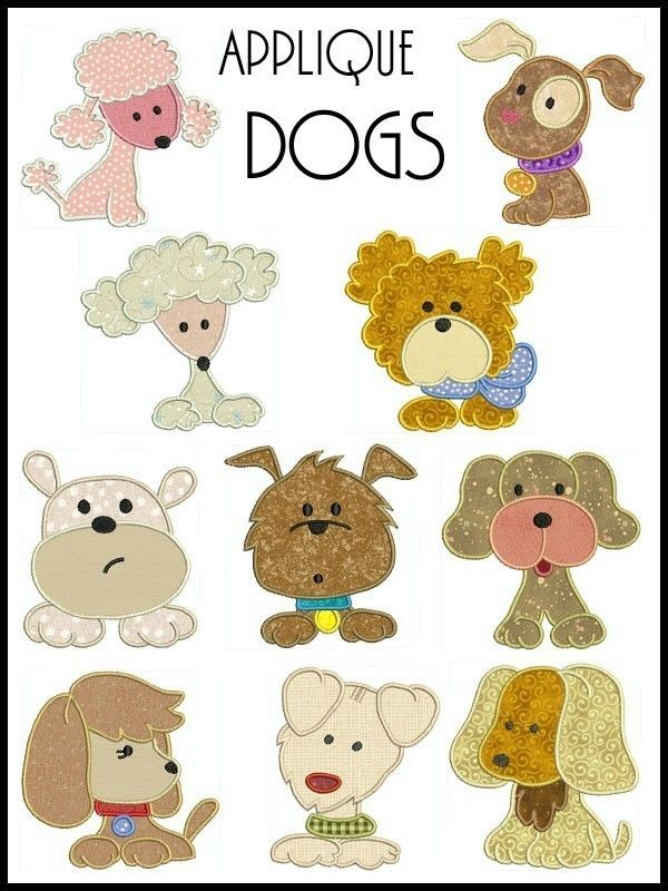 DOGS Machine Embroidery Applique design SET OF 10 | Birthday ...
