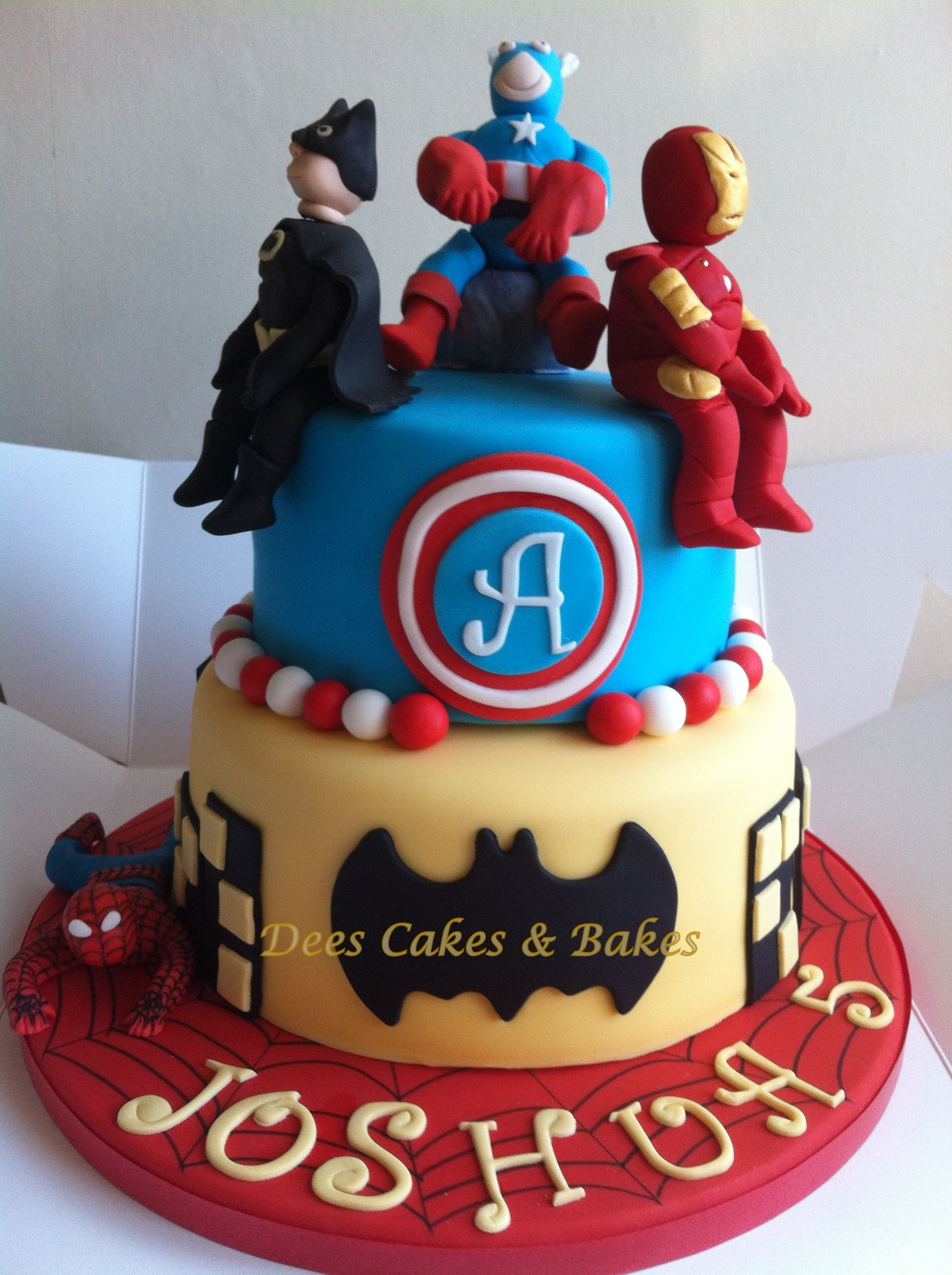 2 Tier Superhero Cake With Sugar Figures