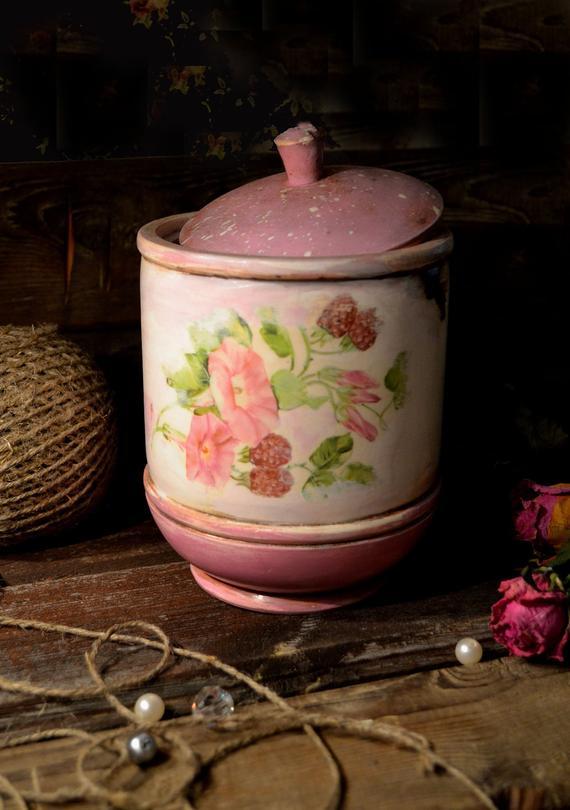 wooden pot shabby sugar flower chic vintage decoupage bank for rh in pinterest com