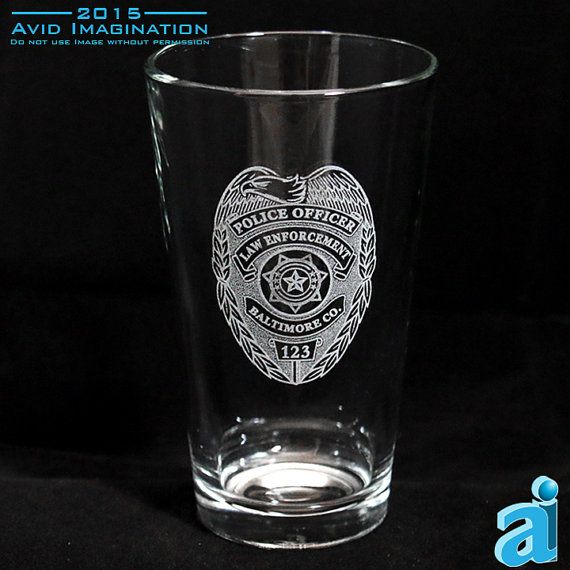 Choose a Single or Pair of Personalized Police Department Shield Pint Glasses. This PD, Pint Glass is the perfect item for your favorite Officer.