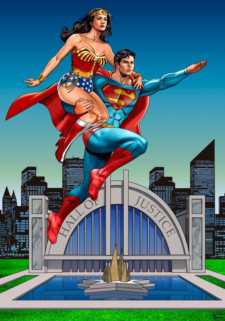 Chris And Lynda Hall Of Justice By Https Www Deviantart Com Hamletroman On Deviantart Superman Wonder Woman Wonder Woman Superhero
