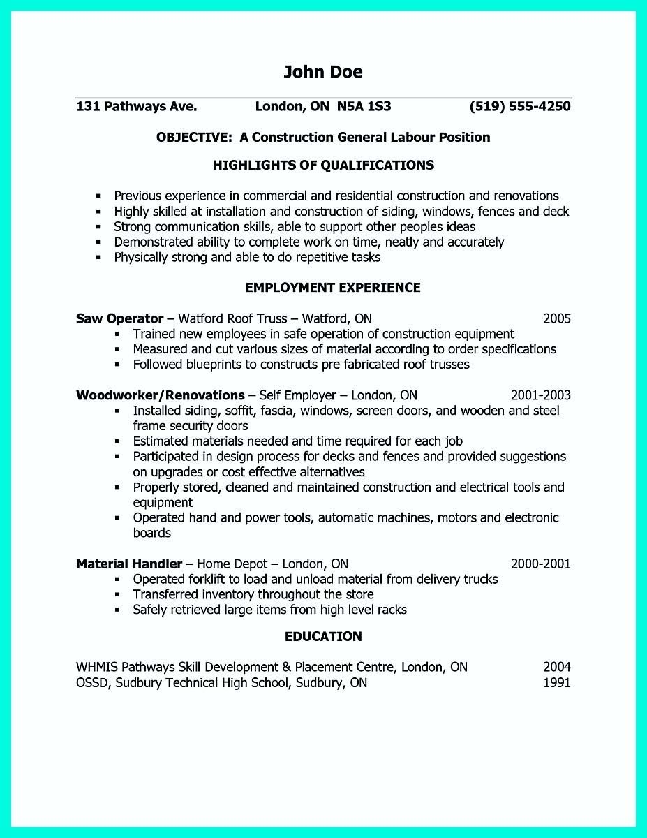 awesome Construction Worker Resume Example to Get You