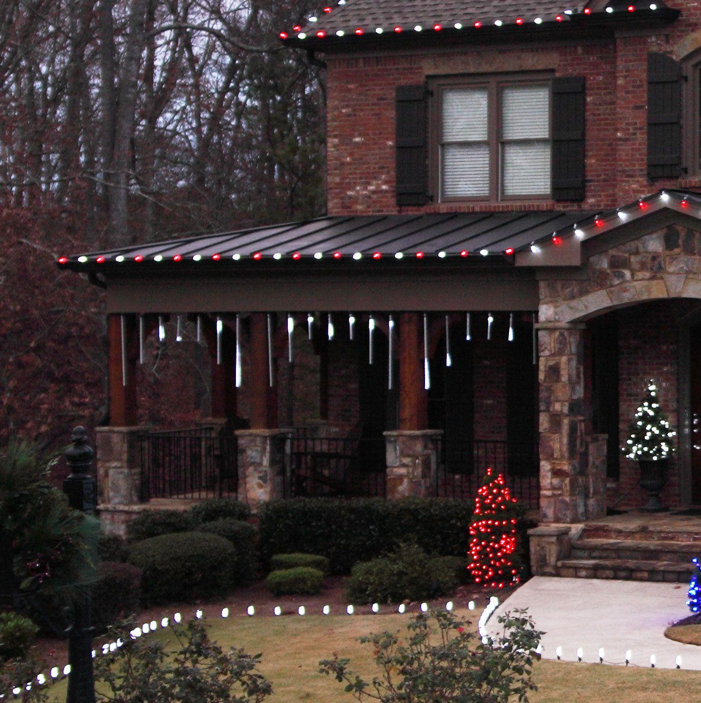 Residential Outdoor Christmas Light Display | ... snowfall lights ...