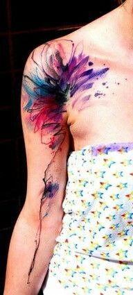 Watercolor Tattoo Armpit Shoulder Flower Blue Pink Purple