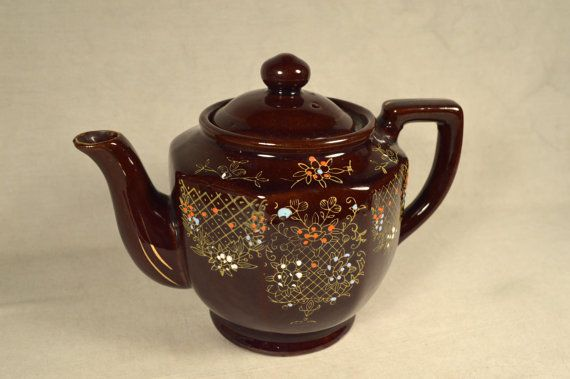 Vintage Brown Tea Pot w/ Raised Beaded Design, Made in Japan