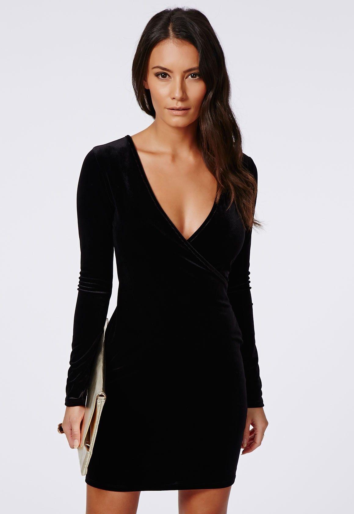 Black dress velvet - Hanna Velvet Bodycon Wrap Dress Black Dresses Bodycon Dresses Missguided