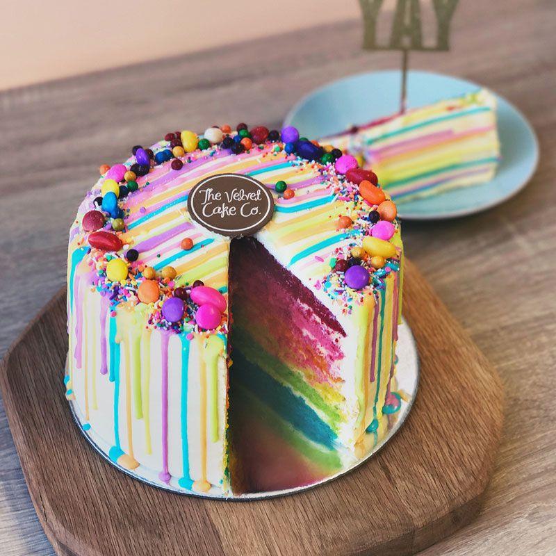 Velvet Colour Drip Cake Drip Cakes Cake Velvet Cake Company