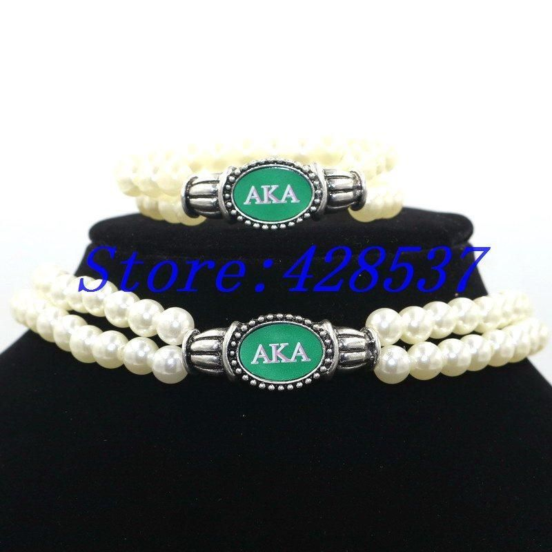 Alpha Kappa Alpha White Pearl Multilayer Necklace ...