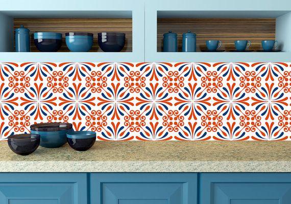 set of 24 orange tile stickers kitchen decals tiles stickers tiles rh pinterest com