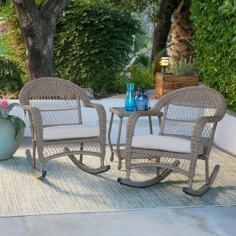 belham living outdoor milos resin 3 pc wicker patio rocking chair rh pinterest ca