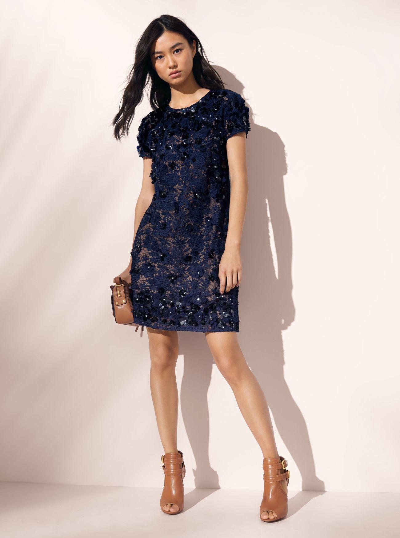 Michael Kors Floral Appliqué Lace Shift Dress XXS