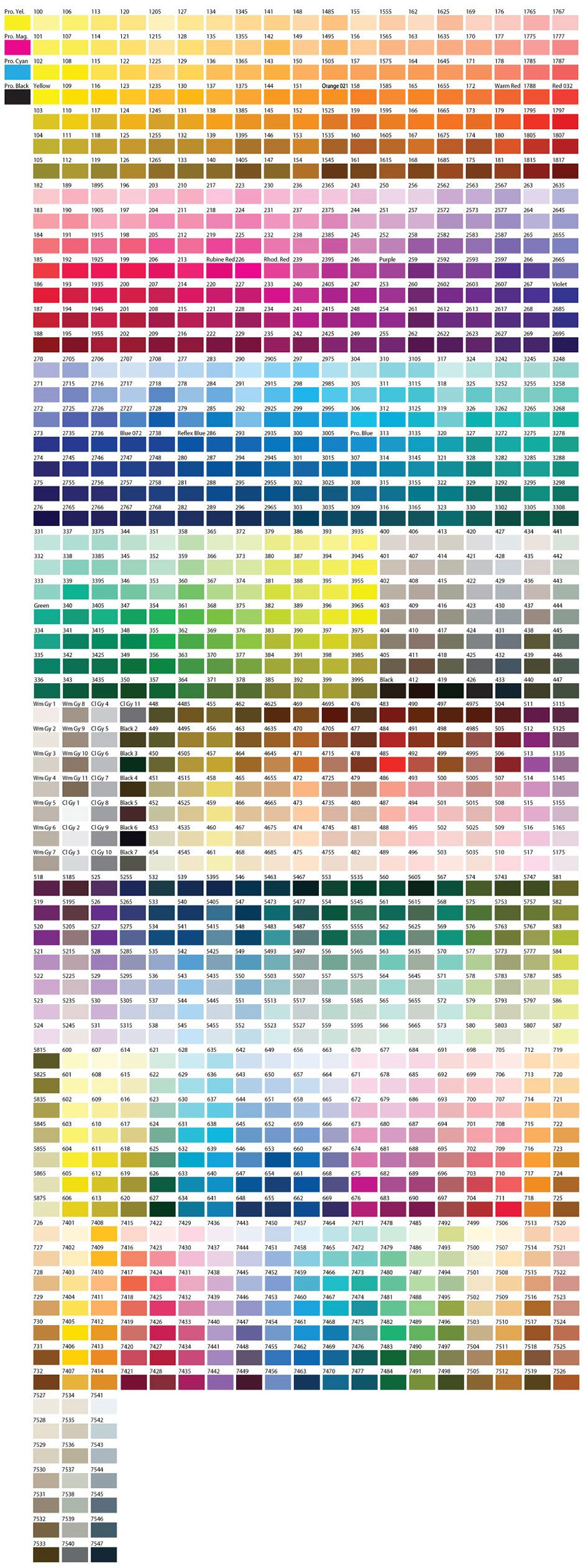 Color Chart ( Pantone / PMS ) - not pms, i take it! This is very color-rich, extravagant! #colorpalettecopies