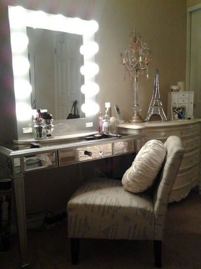 We love how Pinup Girl Bianca used a pier one table and her homage to the  Eiffel Tower in her vanity room  Broadway Lighted Vanity makeup desk by Vanity Girl Hollywood  I  . Vanity Girl Makeup Desk. Home Design Ideas