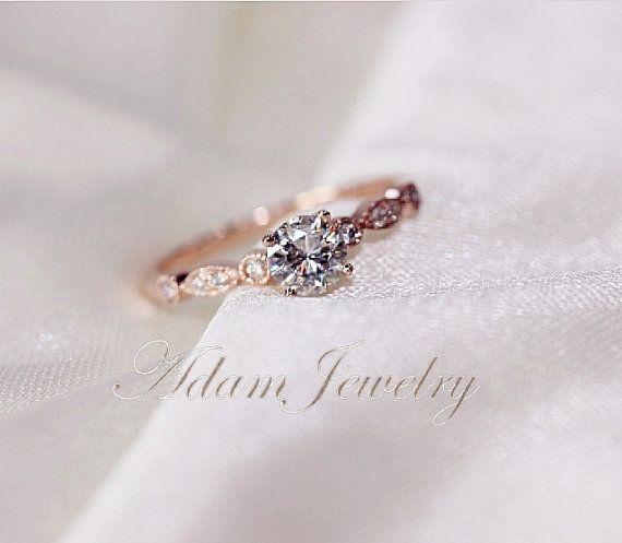 Fancy VS Moissanite Ring VS Accent Diamonds 14K by AdamJewelry
