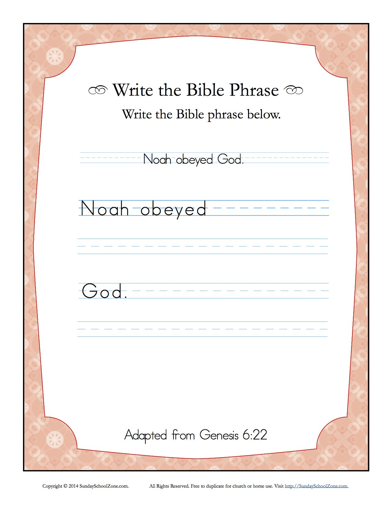 Genesis 6 22 Write The Bible Phrase Worksheet