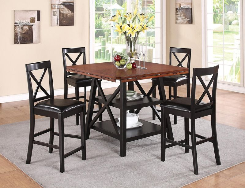 5 PC Rustic Oak Black Wood Counter Dining Set Round X Back Leather