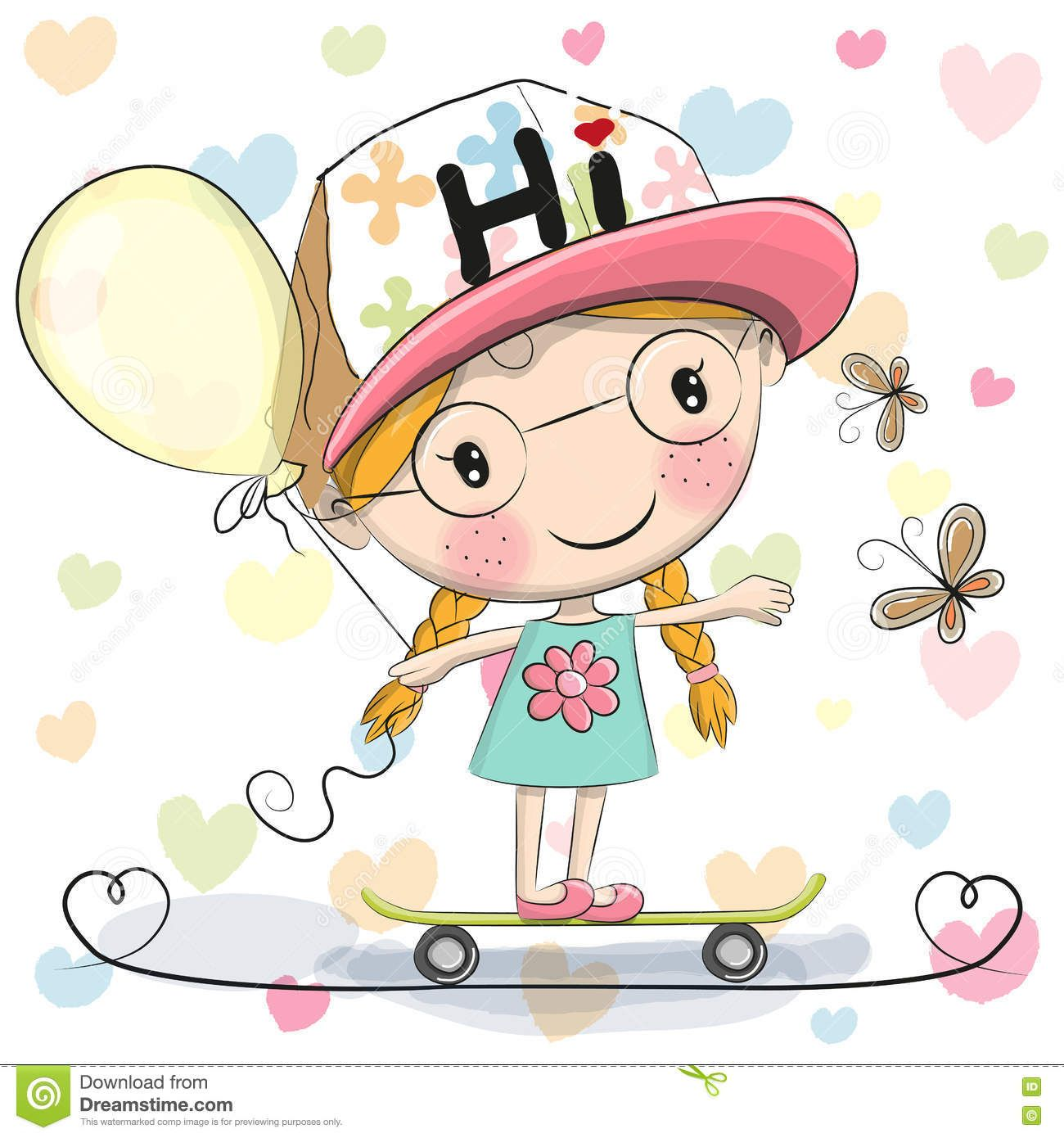 cute cartoon girl with balloon - download from over 46 million high