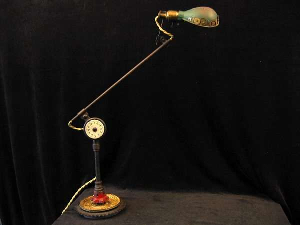 Radiant Recycled Lighting : steampunk table lamp