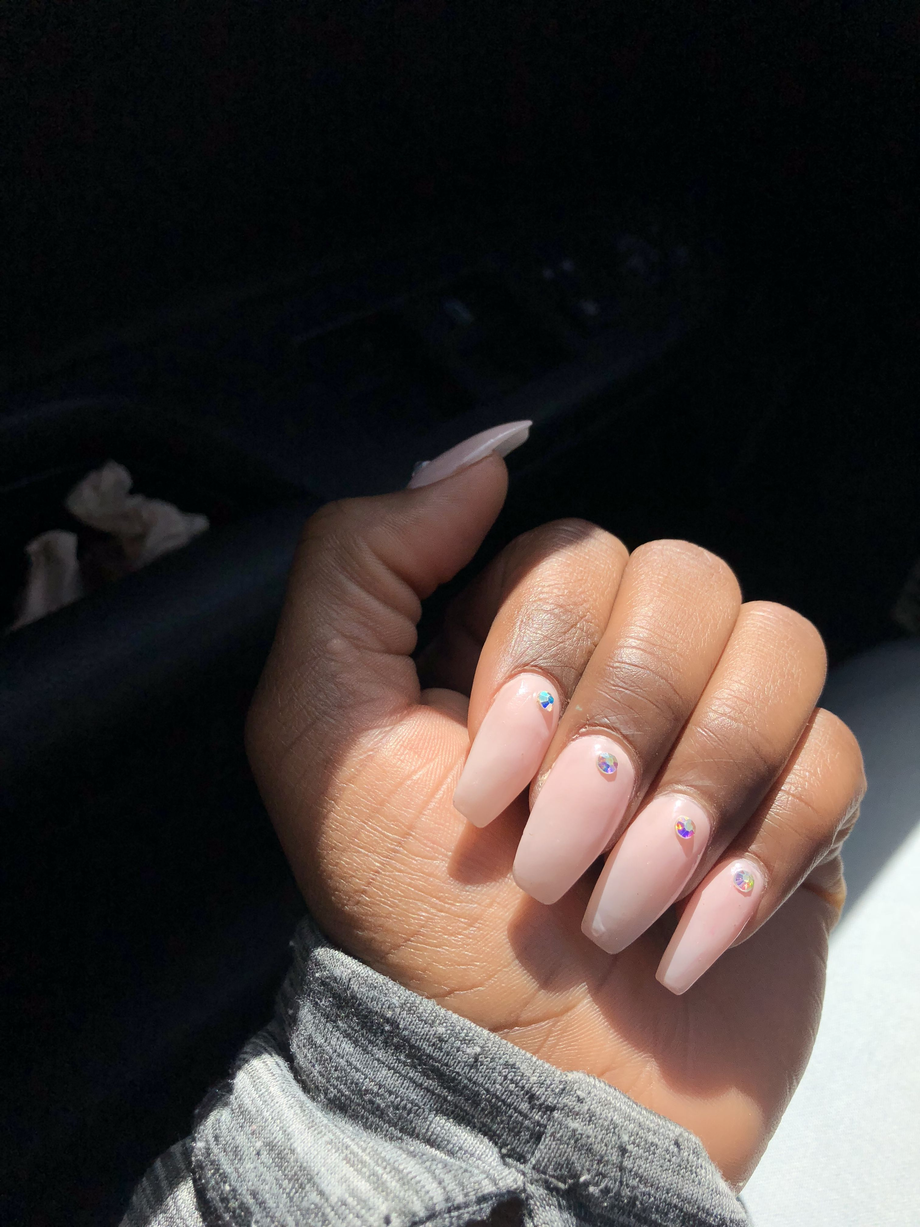 Light Pink Coffin Acrylic Nails With Diamond Diamond Pink Nails Diamond Nails Diamond Nail Designs