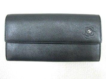 Authentic Calfskin Leather Camellia Wallet Bi-Fold Long Black C ... d923588dd54