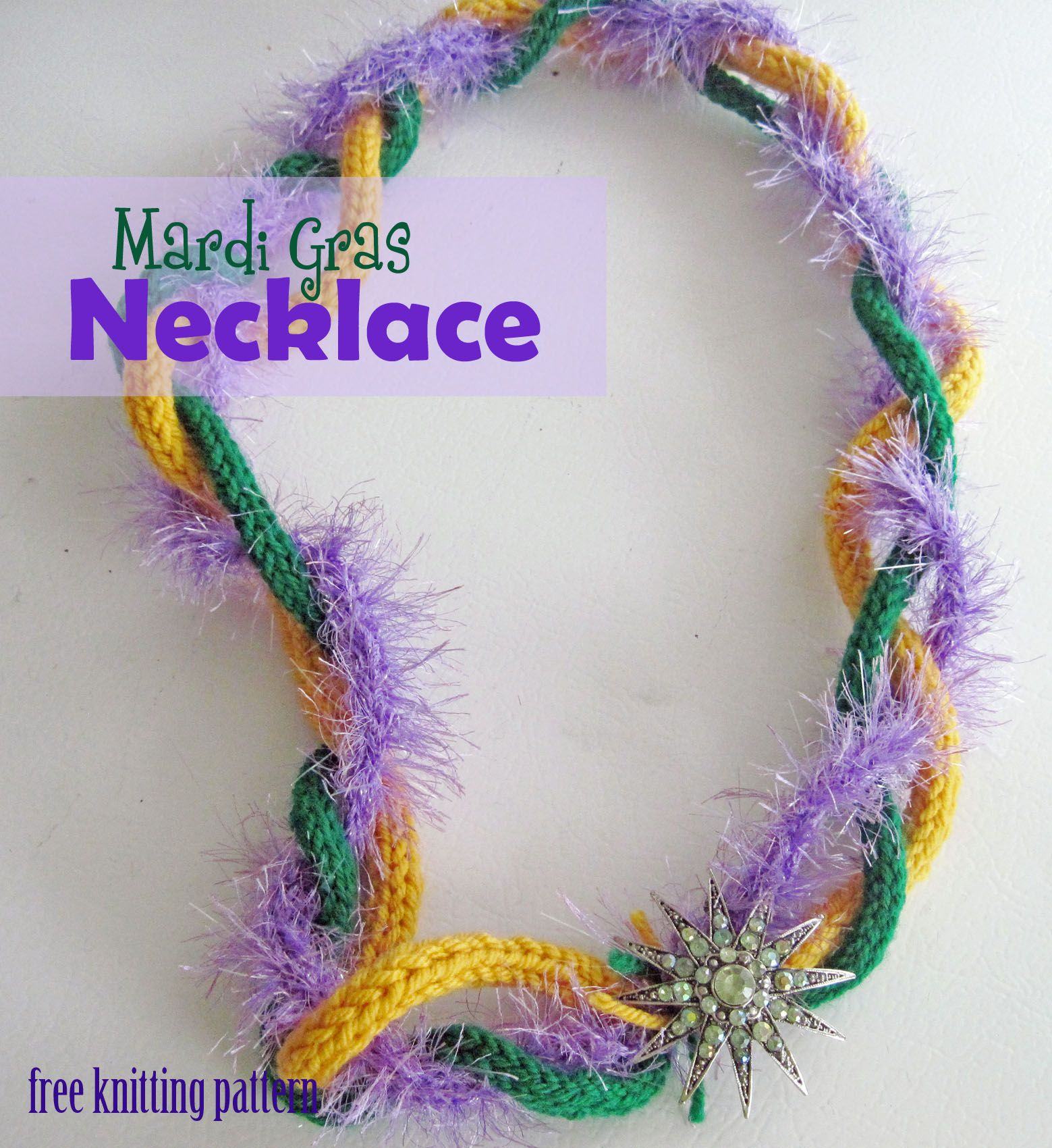 Free knitting pattern mardi gras necklace crochetknit jewelry free knitting pattern mardi gras necklace bankloansurffo Images