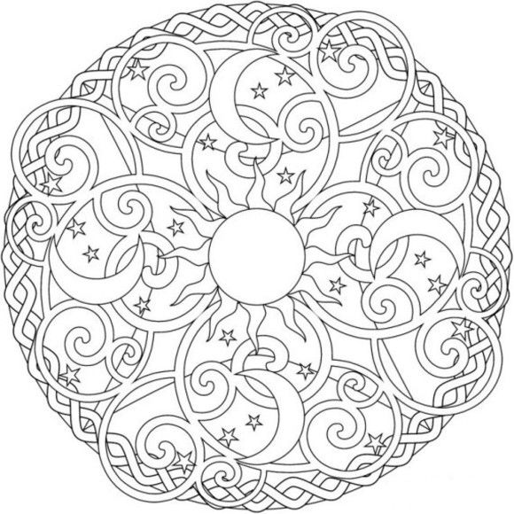 Celestial Mandala Box Card And Coloring Page Moon Coloring