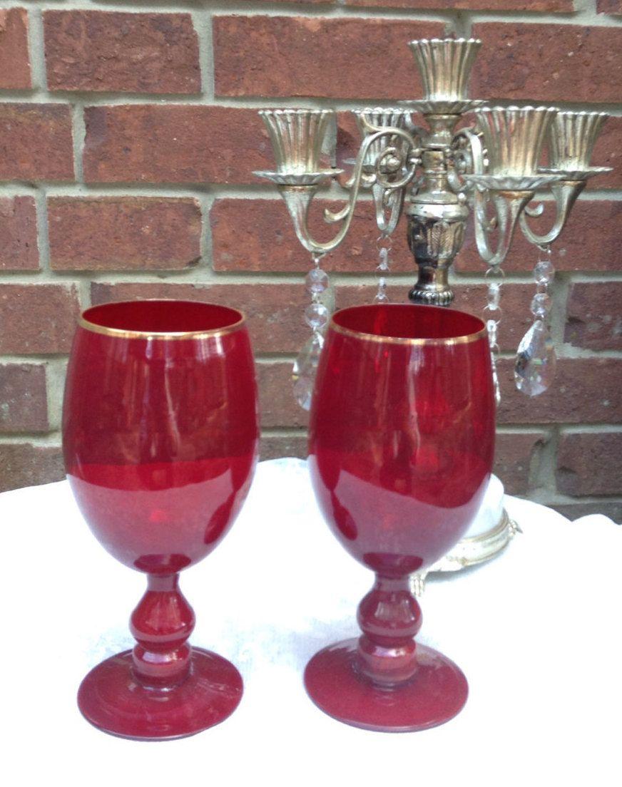 Red Glass Goblet Art Glass Goblet Wine Goblets Water Goblets Vintage Glass Goblet Set Pair Of Red Goblets Stem Glass Ruby Stemmed Glass Red Glass Wine Goblets