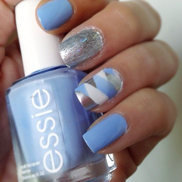 Light blue, silver, and white nails by ada_pie_ using Essie Mirror ...
