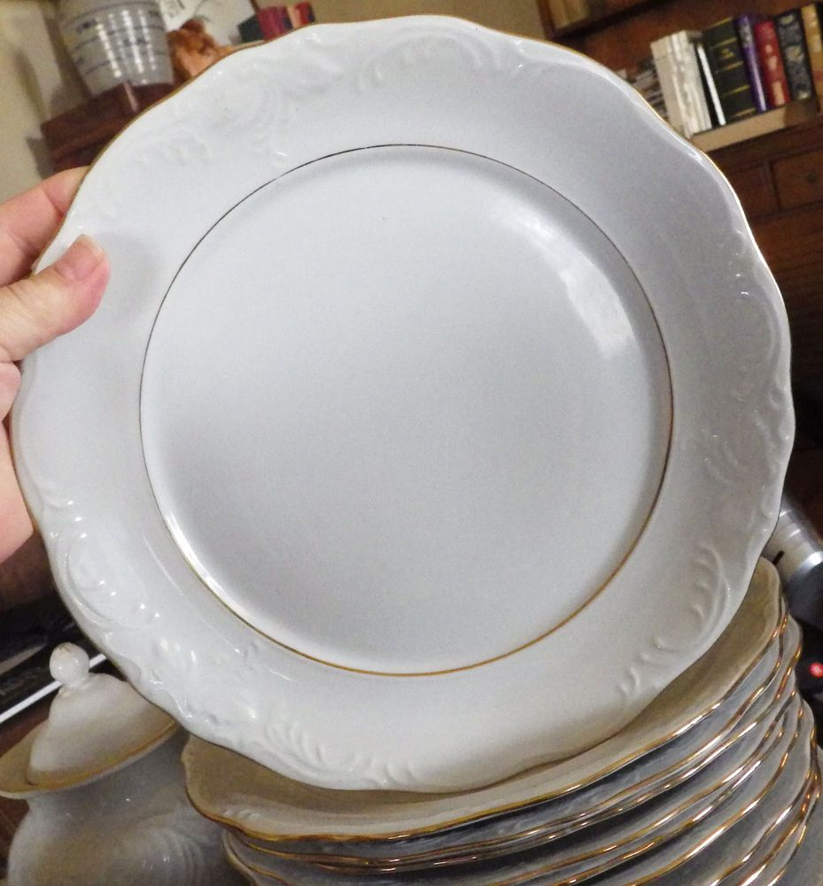 PAIR Gibson Designs Golden Legacy White Scallop Gold Trim Rim Dinner Plate Dish #GIBSON : gibson dinner plates - pezcame.com