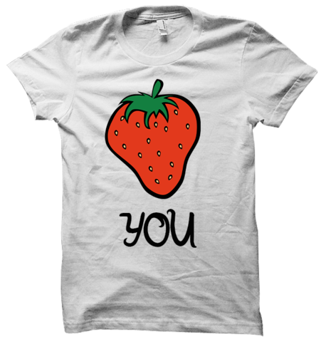 Strawberry Tee – Sup3rfruit. I love me some good vulgar shirts but this is perfectly subtle and would only be understood by those who watch Superfruit :)