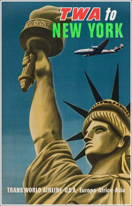 Twa To New York Original Vintage Poster Manifesti Originali D Epoca Www Posterimage It Poster Di Viaggio Vintage Foto Storiche E Poster