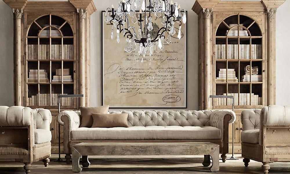 living room arrangements%0A I LOVE the deconstructed sofa  Rooms   Restoration Hardware    Chesterfield Living  RoomChesterfield
