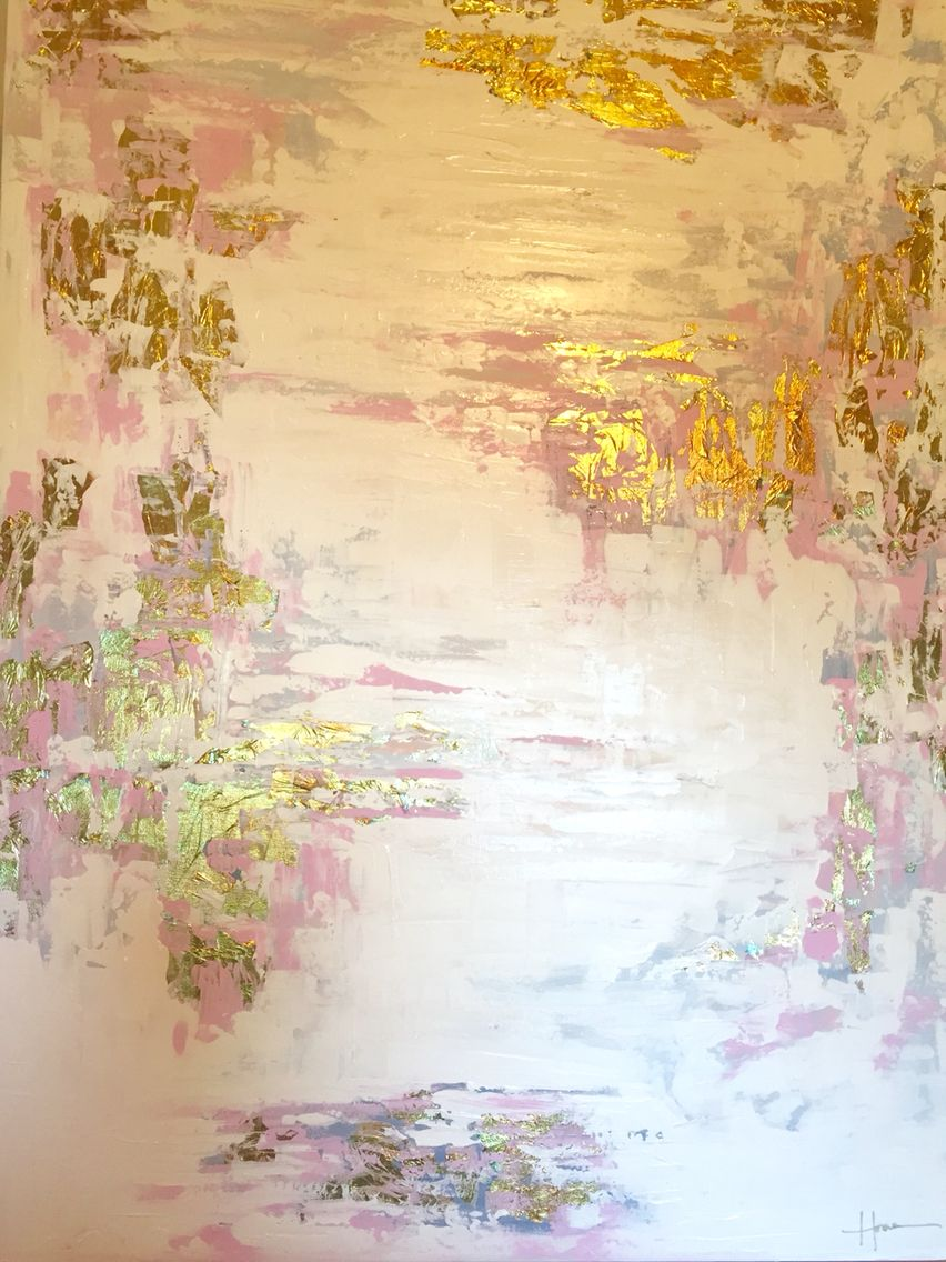 Nursery Abstract - Oil, Acrylic, plaster and gold foil by Lindsey ...
