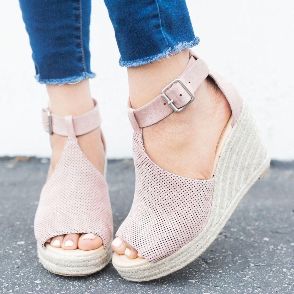 Women Chic Espadrille Wedges Sandals With Adjustable