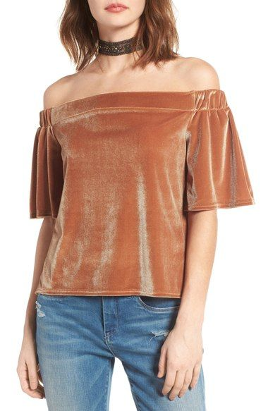 c9f3689ecf35d2 Sun   Shadow Velvet Off the Shoulder Top available at  Nordstrom ...