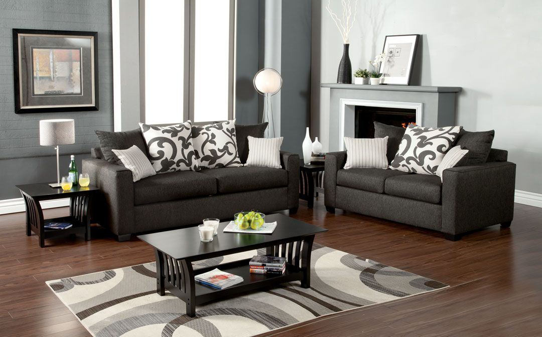 black leather living room furniture sets%0A Furniture  u     Design    Living room furniture    Sofas and Sets    Sofa Sets  Made in USA      pc Colebrook contemporary style medium gray fabric Sofa  and love