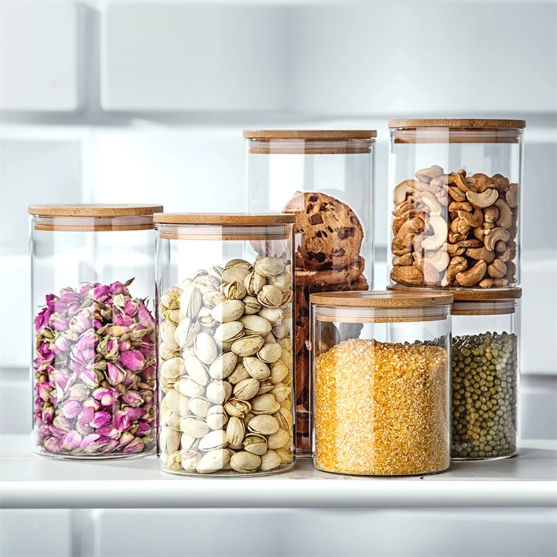 Glass Food Storage Jars With Bamboo Lid In 2020 Glass Food