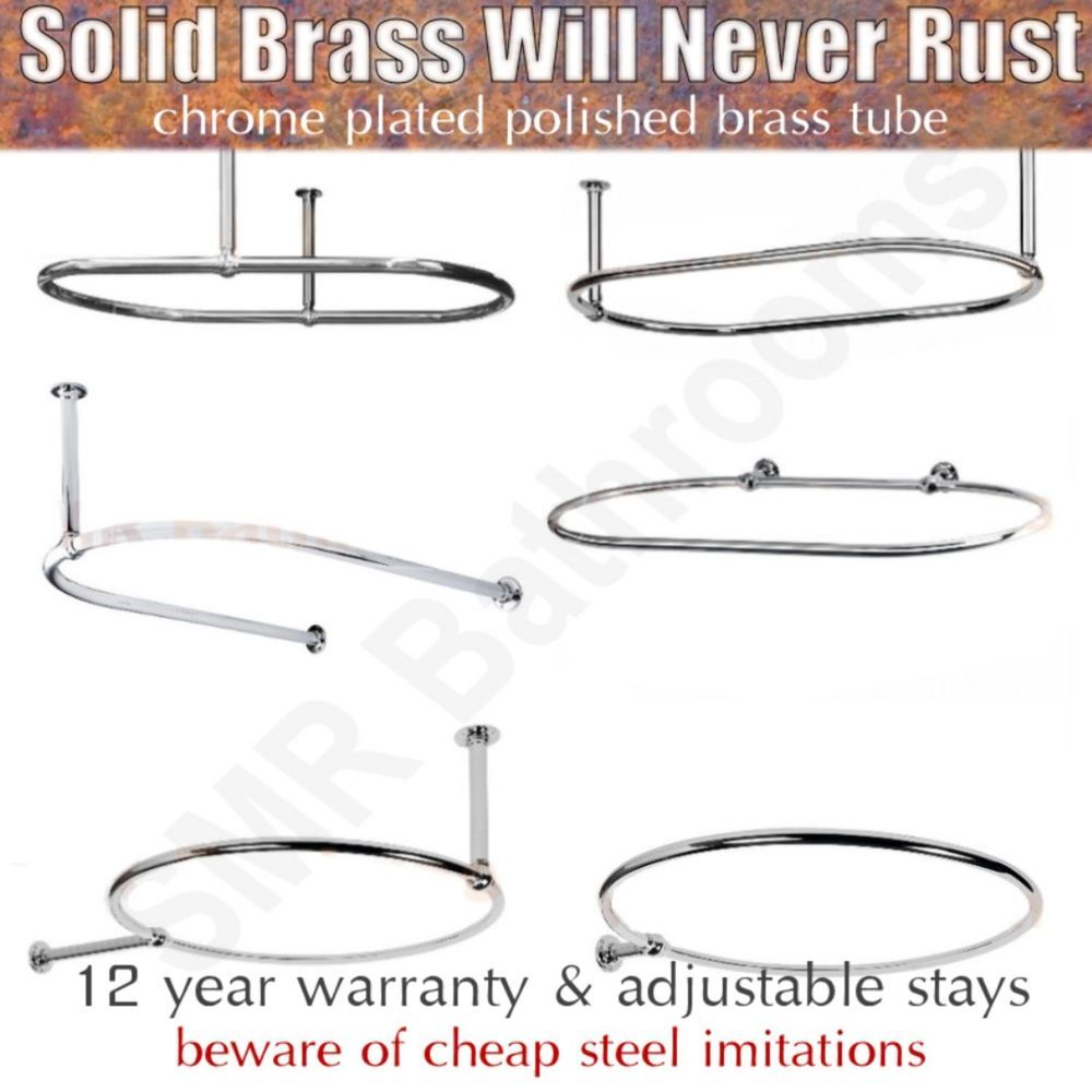 Details About Traditional Round Oval Shower Curtain Rails With