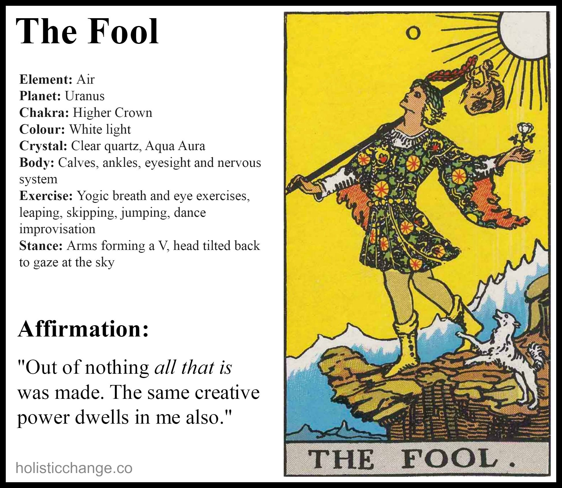 Holistic Correspondences For The Fool Tarot Learning Tarot Card