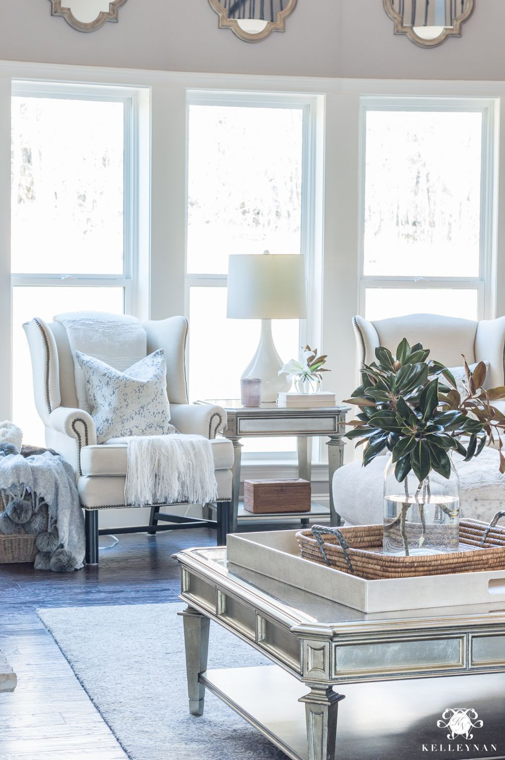 crating a sitting nook with a pair of wingback chairs in the living rh pinterest com