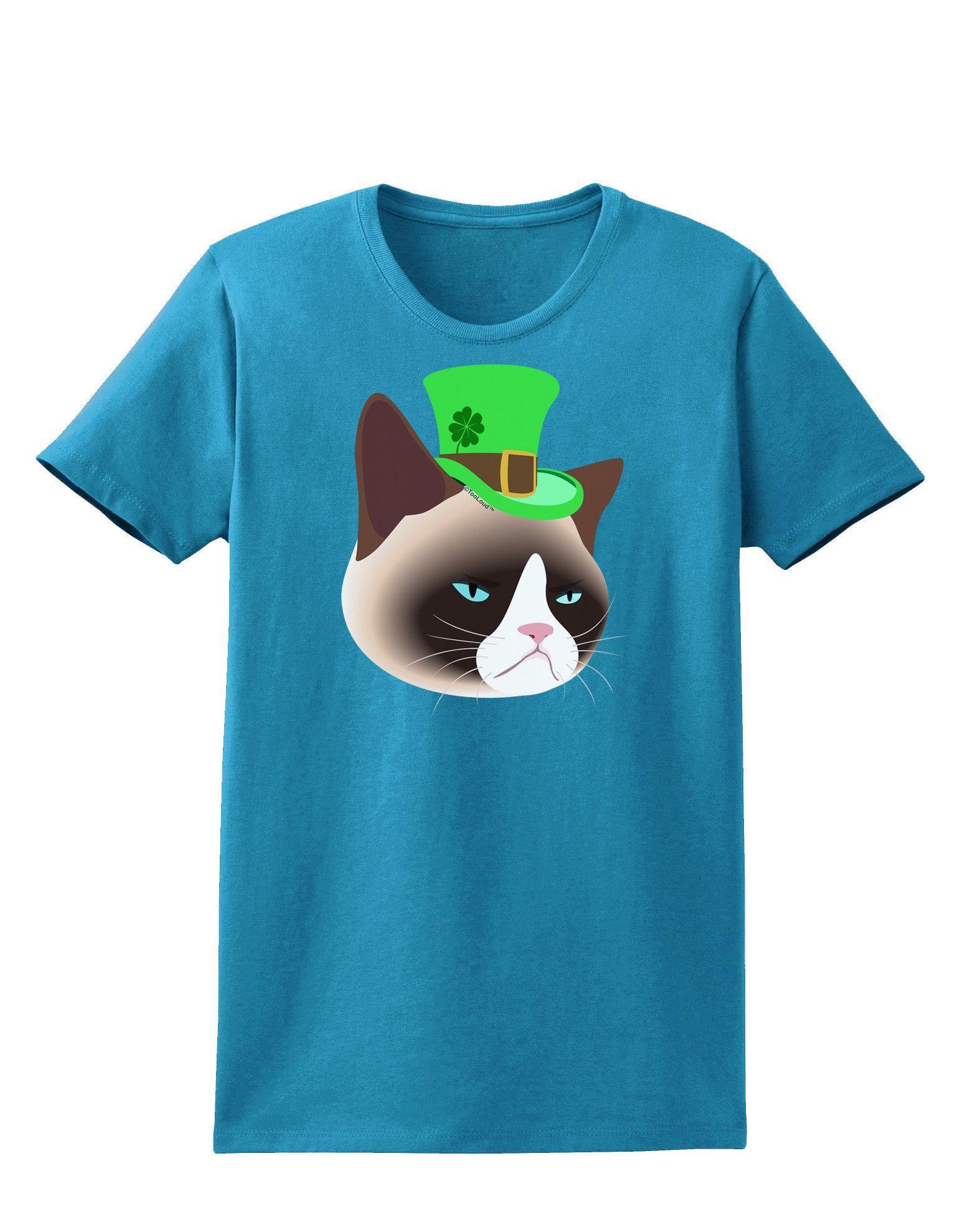 TooLoud Leprechaun Disgruntled Cat Womens Dark T-Shirt