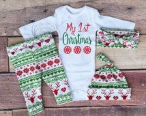 Baby Girl Christmas Outfit My 1st Christmas My First Girl Coming