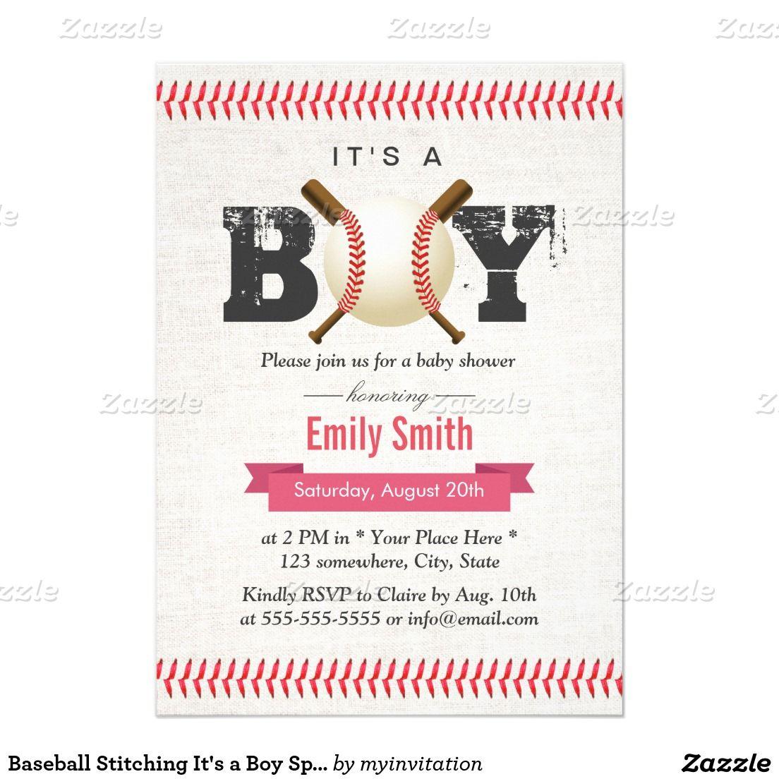 Baseball Stitching It\'s a Boy Sports Baby Shower Invitation   Lil ...