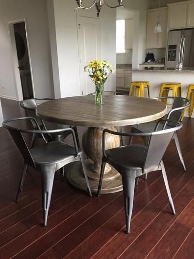 in an ultra rustic whitewash finish our incredibly versatile round rh pinterest com